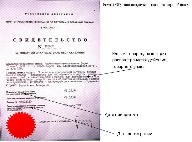 свидетельство на товарный знак образец - фото 4